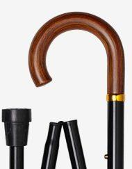 Houten Krul wandelstok met houten handvat detail