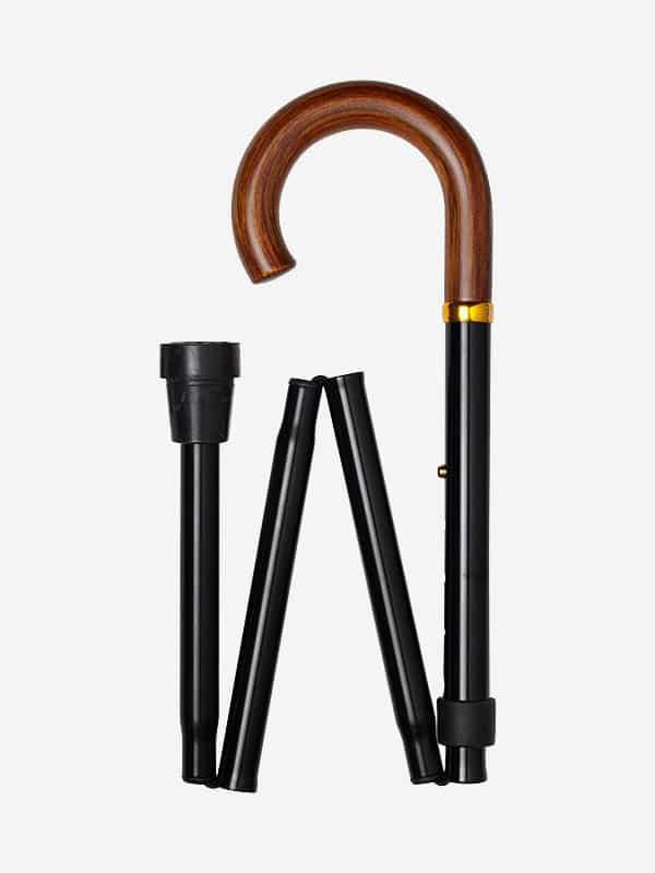 Houten Krul wandelstok met houten handvat
