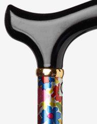 Flower Power wandelstok verstelbaar aluminium lichtgewicht detail