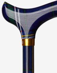 Schotse Ruit Blauw Groen wandelstok detail