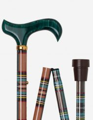 Schotse Ruit in Oranje Groen wandelstok detail