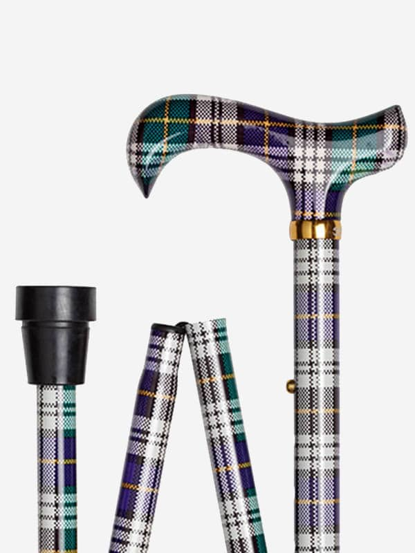Schotse Ruit in Paars Groen wandelstok detail