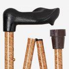 Goudbruin Gemarmerd wandelstok met ergonomisch handvat detail
